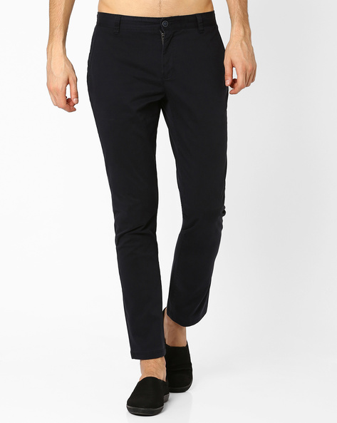 Mid Rise Slim Fit Stretch Chinos By AJIO ( Black )