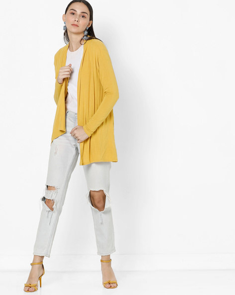 Longline Open-Front Shrug By Project Eve WW Casual ( Yellow )