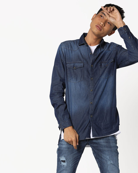 Lightly Washed Slim Denim Shirt By Highlander ( Darkblue )