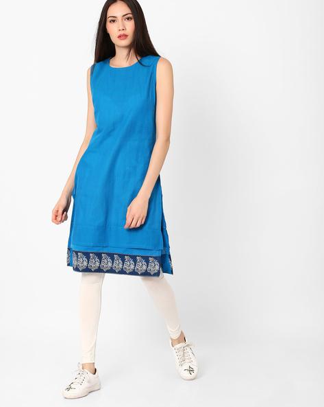 Straight Kurta With Printed Border By AJIO ( Blue )