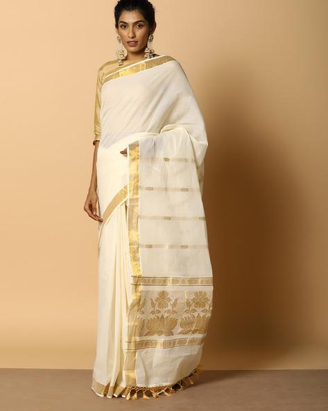 Kerala Kasavu Cotton Saree With Ornate Pallu And Buti By Indie Picks ( Offwhite ) - 460104580001