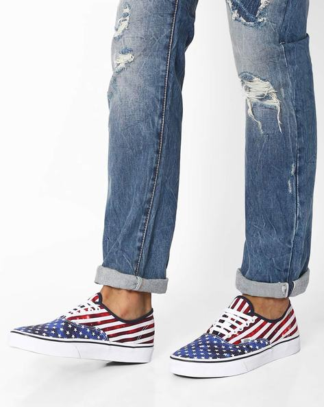 Americana Authentic Canvas Sneakers By Vans ( Blue )
