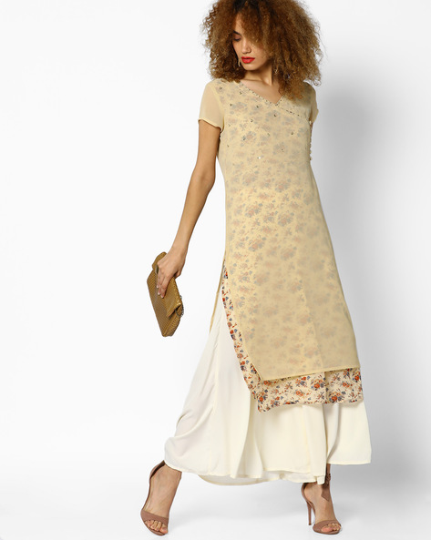 Floral Print Kurta With Sheer Layer By AJIO ( Beige )