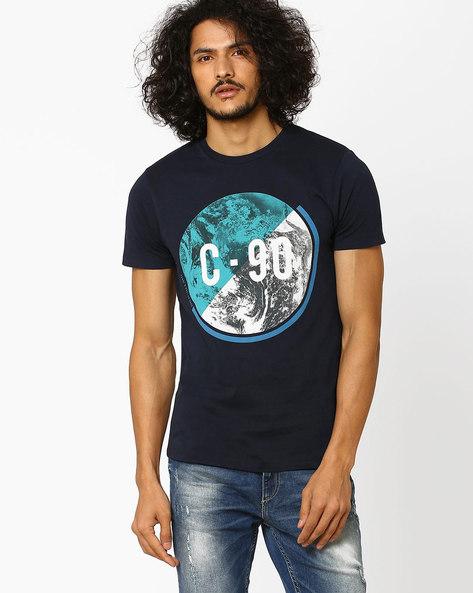 Printed Slim Fit T-shirt By Jack & Jones ( Navy )