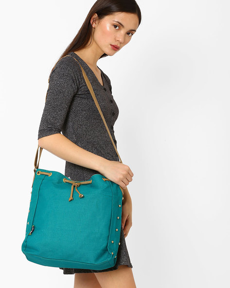 Canvas Sling Bag With Drawstring Fastening By Kanvas Katha ( Aqua )