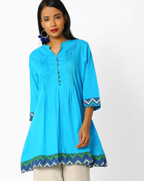Cotton Tunic With Pintucks By Shree ( Turquoise )