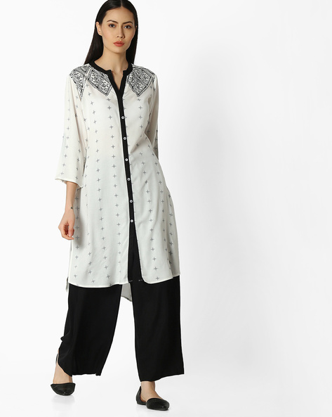 Printed Straight Kurta With Button Placket By AVAASA MIX N' MATCH ( Black )