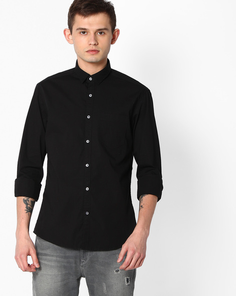 Slim Fit Cotton Shirt By Killer ( Black )