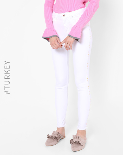Mid-Rise Jeans With Flared Hems By TRENDYOL ( White )