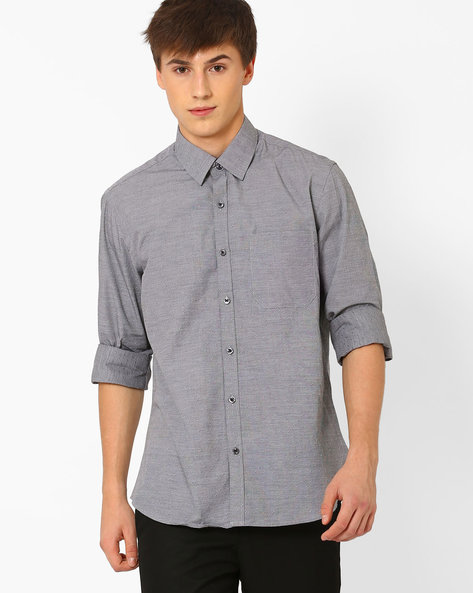 Printed Cotton Shirt By NETWORK ( Charcoal )