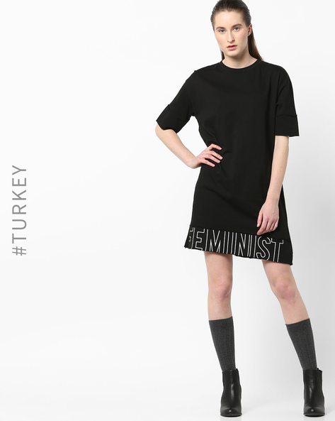 Shift Dress With Drop Sleeves By TRENDYOL ( Black )