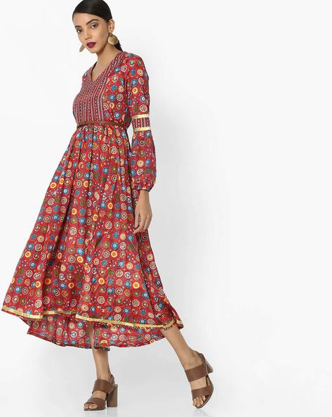 Printed A-Line Dress With Attached Belt By Akkriti By Pantaloons ( Red )