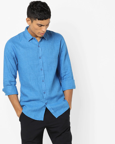 Slim Fit Shirt With Curved Hem By SPYKAR ( Blue )