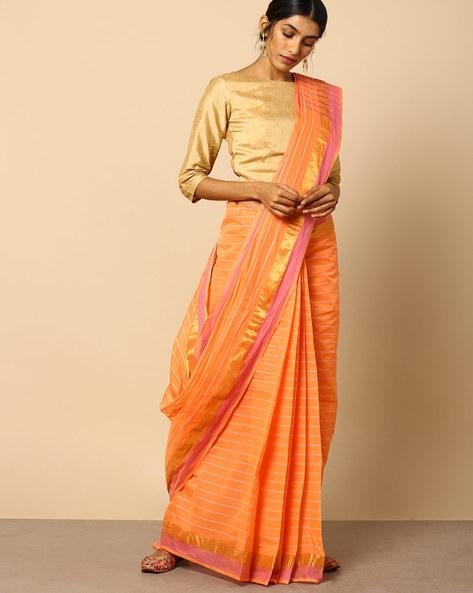 South Cotton Striped Saree With Zari Border By Indie Picks ( Orange )