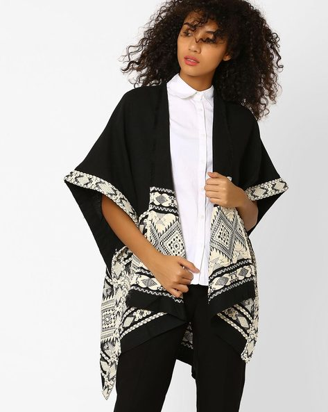 Open-Front Woven Shrug By FIG ( Black )