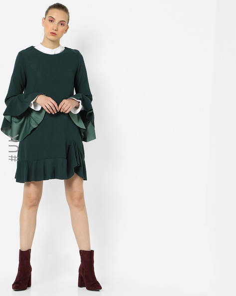 Ruffled Shift Dress With Flared Sleeves By OEUVRE ( Green )