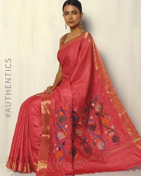 Handloom Pure Tussar Silk Saree With Zari Border By Pretty Woman ( Peach )