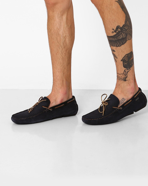 Genuine Leather Textured Boat Shoes By RED TAPE ( Navy )