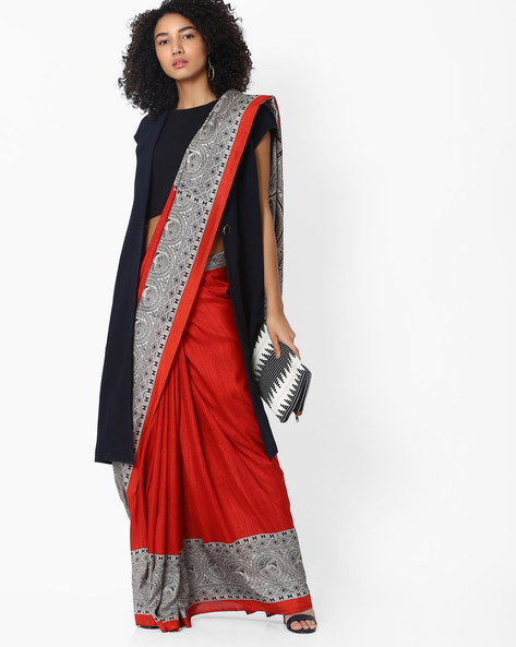 Printed Saree With Contrast Border By Pihu ( Rust )