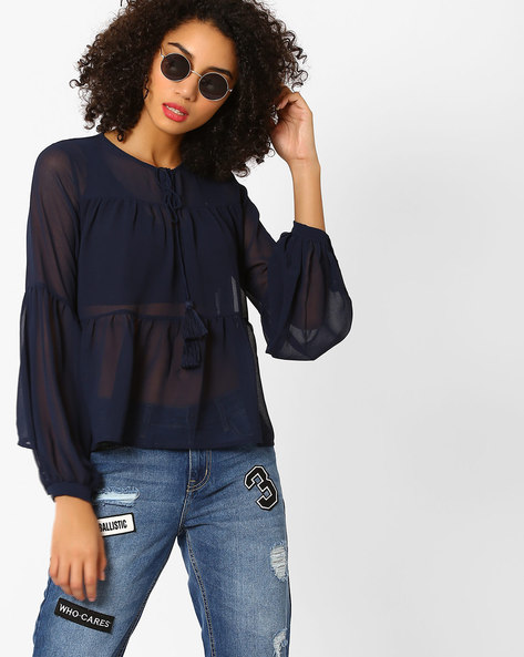 Tiered Top With Tassel Tie-Up By Rena Love ( Navyblue )