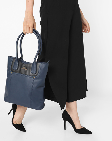 Panelled Tote Bag By Lavie ( Blue )