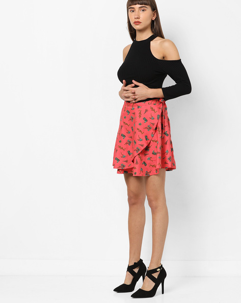 Printed Mini Skirt With Tie-Up By AJIO ( Coral )