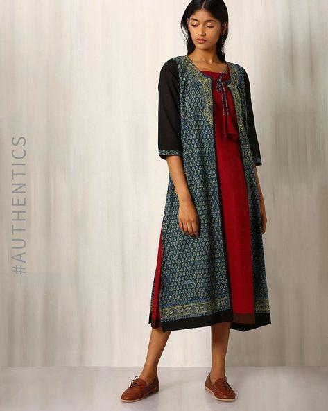 Ajrak Print Cotton Jacket With Mangalgiri Kurta By Indie Picks ( Indigo )