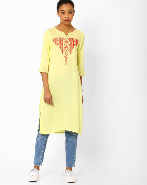 Straight Kurta With Embroidery By AVAASA MIX N' MATCH ( Yellow )