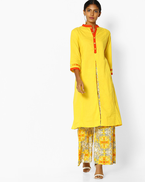 Collared Straight Kurta With Printed Palazzos By Purple Tree ( Yellow )