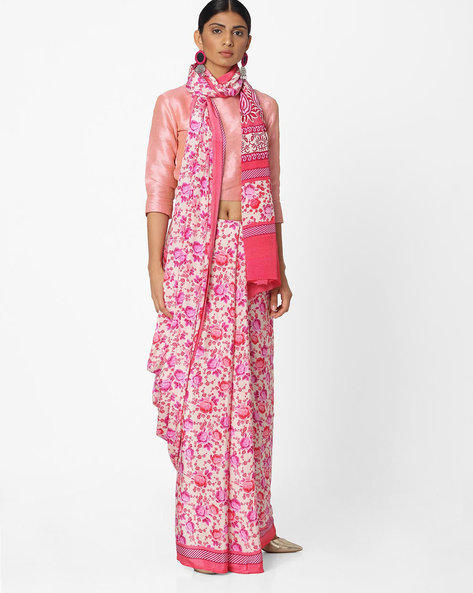 Floral Print Saree By Majestic Silk ( Pink )