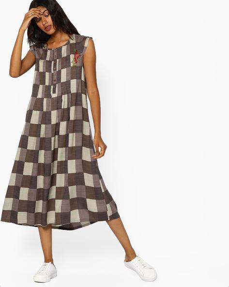 Checked A-line Midi Dress By AJIO ( Brown )
