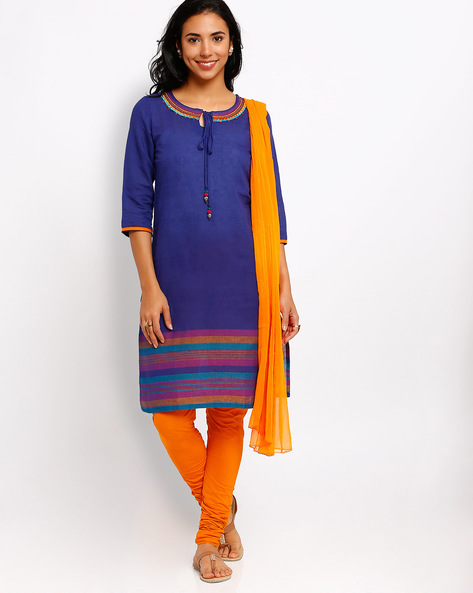 Churidar Kurta With Dupatta By AVAASA SET ( Navy )