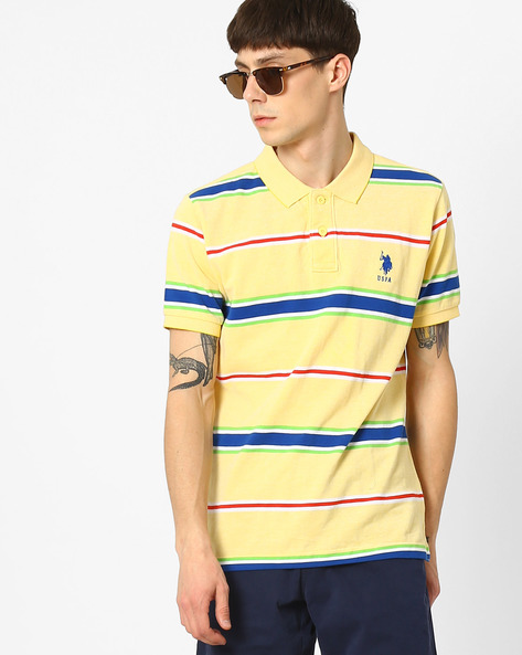 Yarn-Dyed Striped Polo T-shirt By US POLO ( Assorted )