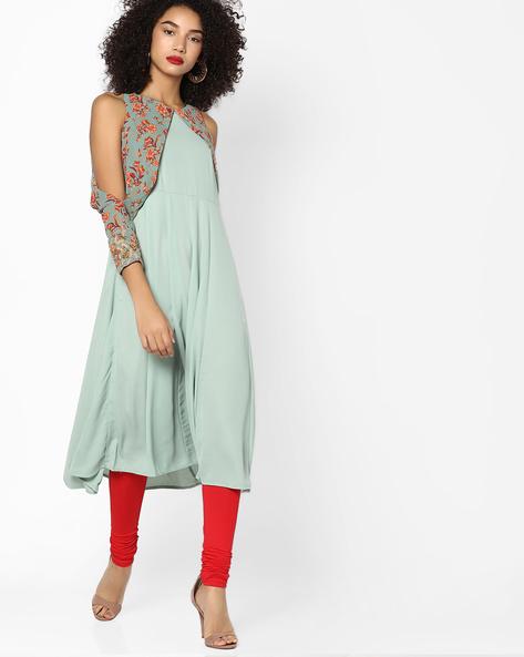Kalidar Kurta With Printed Overlap Sleeves By AJIO ( Pink )