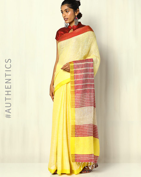 Handloom Pure Linen Saree With Fringes By Indie Picks ( Multi ) - 460103030001