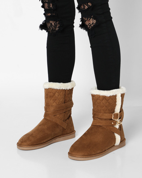 Quilted Uggs With Buckle Accent By Carlton London ( Tan )