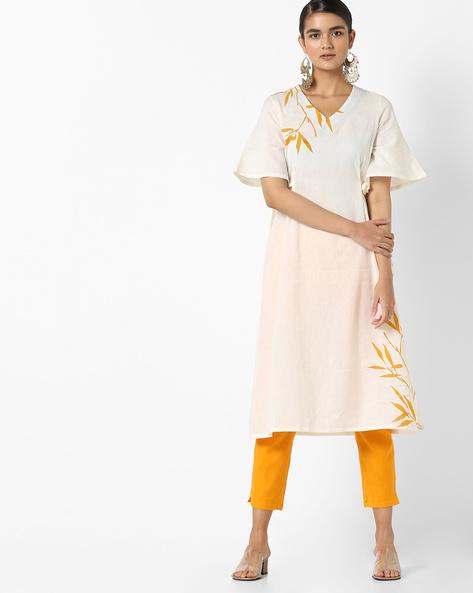 A-line Dress With Tie-Ups By AJIO ( Offwhite )