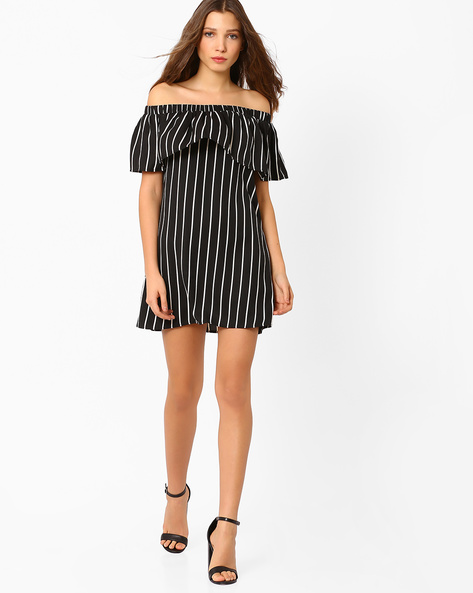 Off-Shoulder Striped Dress By AJIO ( Black )