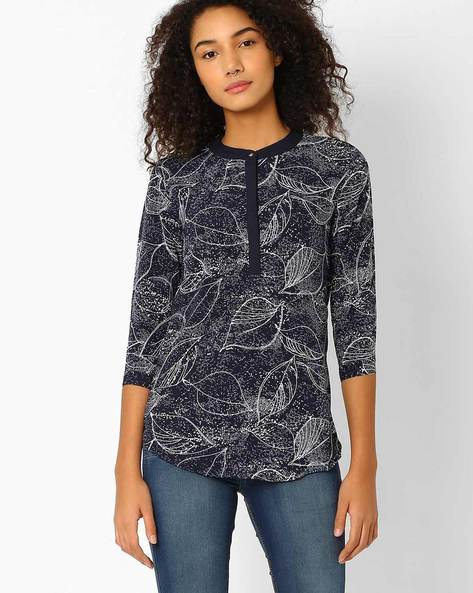 Leaf-Print Shirt With Mandarin Collar By Recap ( Blue )