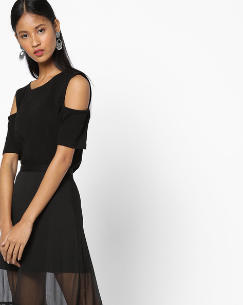 Ribbed Top With Cold-Shoulder Sleeves By UNITED COLORS OF BENETTON ( Black )