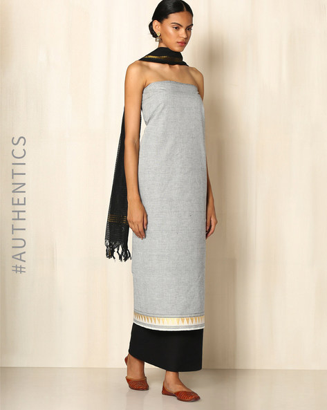 Cotton Dress Material Set By Indie Picks ( Offwhite )