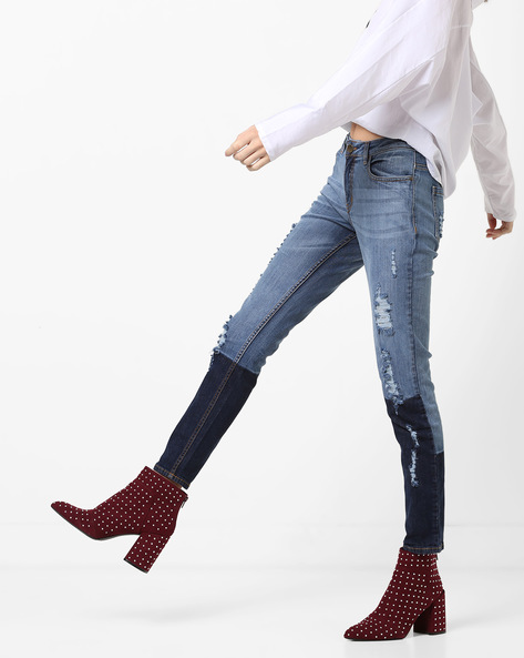Mid-Rise Panelled Distressed Jeans By AJIO ( Indigo )