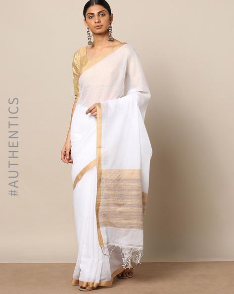 Handloom Pure Silk Cotton Saree With Zari Border By Indie Picks ( White )