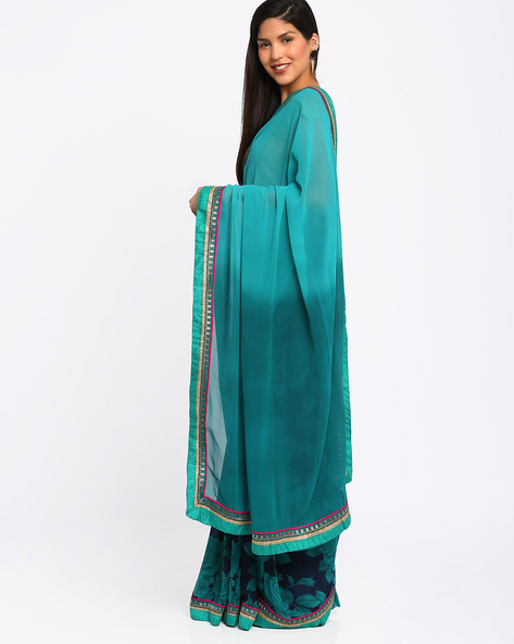 Georgette Saree By Lookslady ( Green )