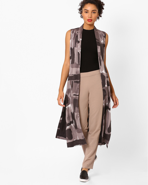 Abstract Print Open-Front Long Jacket By Vajor ( Multi )
