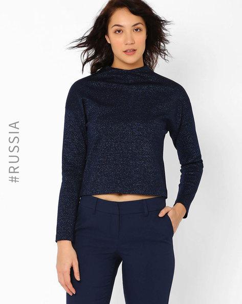 High-Neck Pullover By Kira Plastinina ( Navyblue )