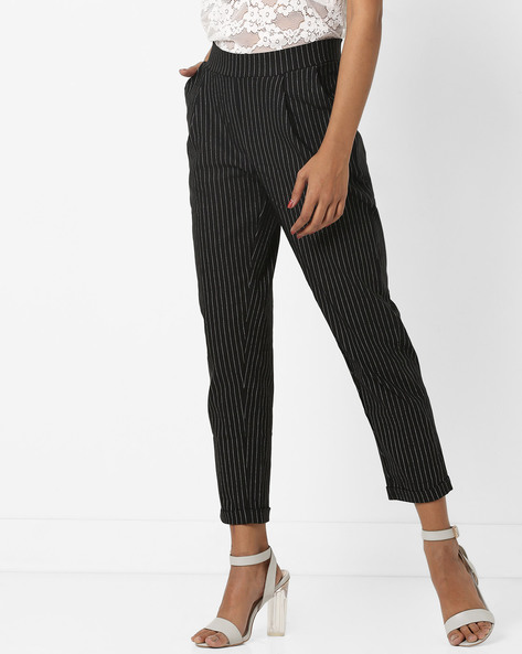 Striped Ankle-Length Trousers By AJIO ( Black )