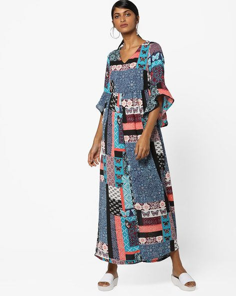Printed Fit & Flare Maxi Dress By AJIO ( Blue )