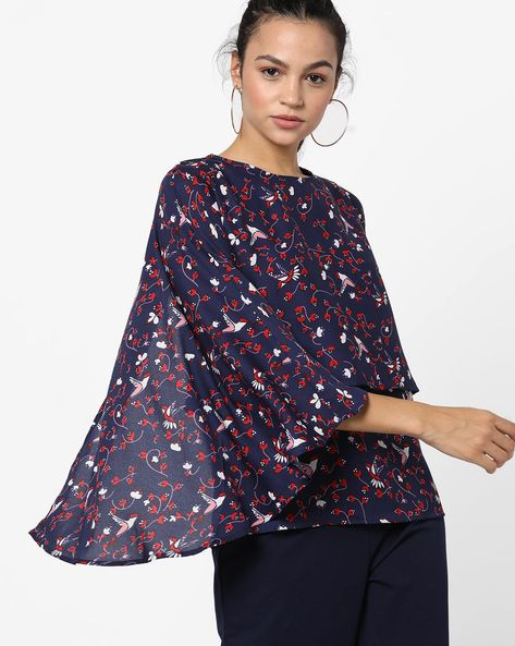 Printed Layered Top With Flared Sleeves By Femella ( Navyblue )