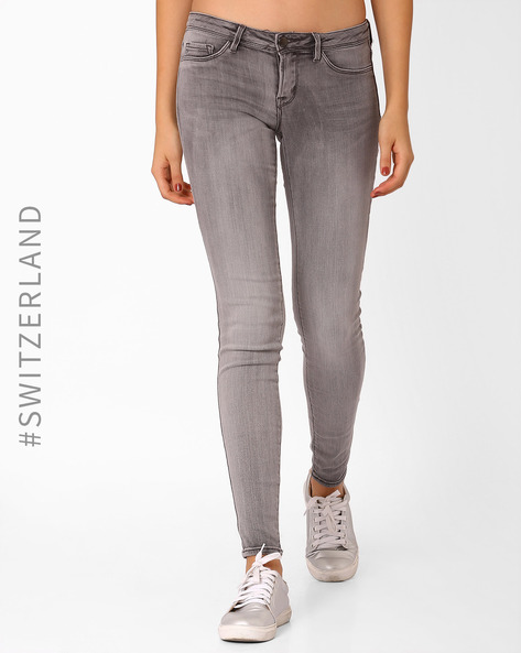 Woven Low-Rise Skinny Jeans By TALLY WEiJL ( Grey )
